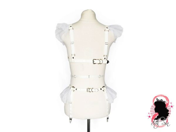 White Faux Leather Caged Mesh Harness Set